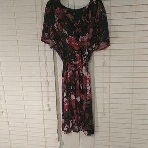 Short Sleeve Knit Faux Wrap Dress